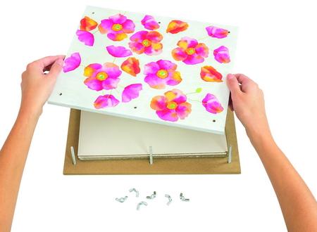 Bloemenpers, groot, 32 x 26 cm met 8 schroeven en vlindermoeren, kompleet met karton en vloeipapier