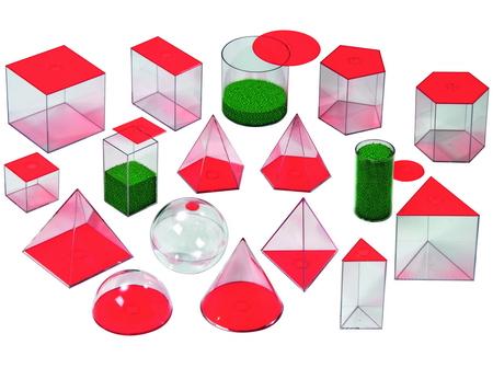 Geometrische  vormen, vulbaar met vloeistof en af te sluiten met deksel. 17 vormen tot 6 cm hoog.